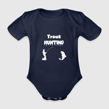 Trout fishing trout hunting white - Organic Short-sleeved Baby Bodysuit