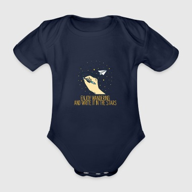 Enjoy hiking and write it in the stars - Organic Short-sleeved Baby Bodysuit