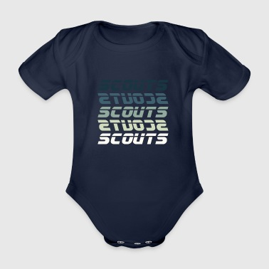 SCOUTS Retro Typo Blue Green - Organic Short-sleeved Baby Bodysuit