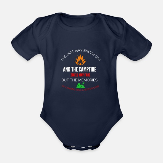 Birthday Baby Clothes - camping - Organic Short-Sleeved Baby Bodysuit dark navy