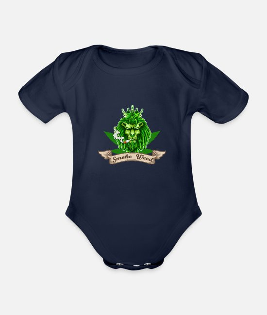 Cannabis Baby Bodysuits - Weed marijuana grass smoking - Organic Short-Sleeved Baby Bodysuit dark navy