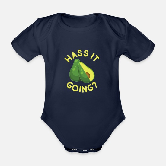 Love Baby Clothes - Hate it going? avocado - Organic Short-Sleeved Baby Bodysuit dark navy