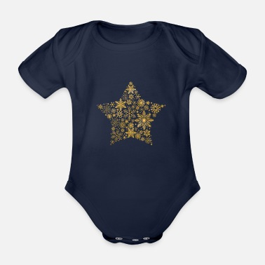 November snowflake star gold - Baby Bio Kurzarmbody