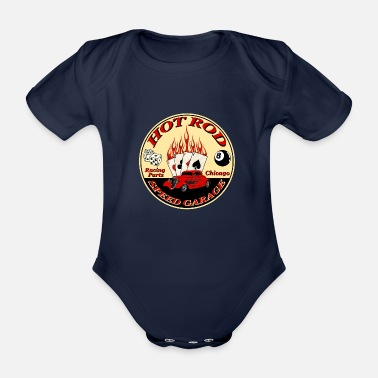 Hot hot rod flaming - Organic Short-Sleeved Baby Bodysuit