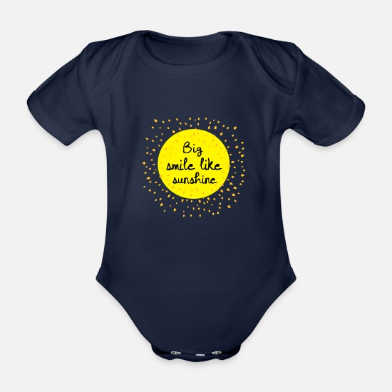 Bed Baby Clothes - big smile like sunshine c - Organic Short-Sleeved Baby Bodysuit dark navy