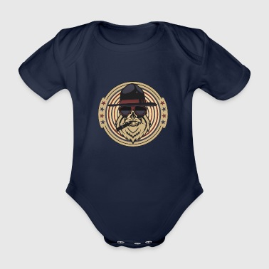 head of death hipster cigar bearded skull crane chap - Organic Short-sleeved Baby Bodysuit