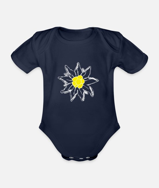 Tyrol Baby Clothes - Edelweiss Alps Mountains Tour Tyrol Summit Climbing - Organic Short-Sleeved Baby Bodysuit dark navy