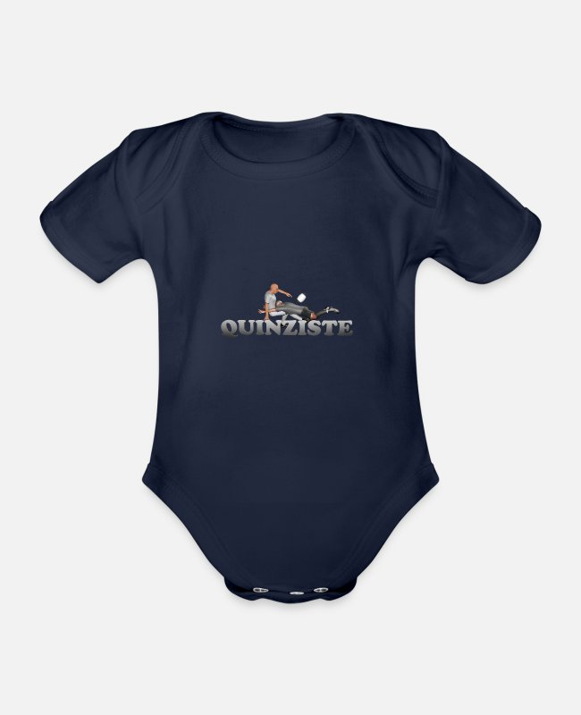 Lyon Rugby Toulousain Baby Bodysuits - QUINZIST Rugby - Organic Short-Sleeved Baby Bodysuit dark navy