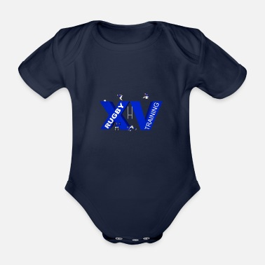 Lyon Rugby Toulousain XV TRAINING blue - Organic Short-Sleeved Baby Bodysuit