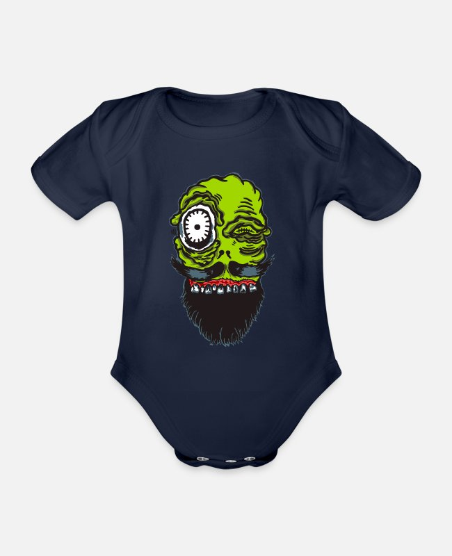 Beard Baby Bodysuits - Weird Beardo Crazy Bearded Bearer - Tshirt - Organic Short-Sleeved Baby Bodysuit dark navy