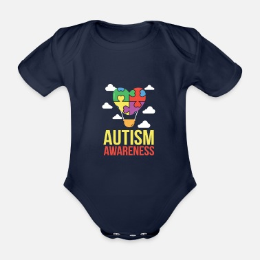 Autism Awareness - Attention Autism - Organic Short-Sleeved Baby Bodysuit