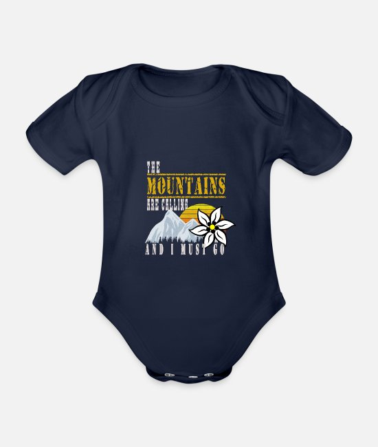 Mountains Baby Clothes - The mountain gets rock climbing with Edelweiss - Organic Short-Sleeved Baby Bodysuit dark navy