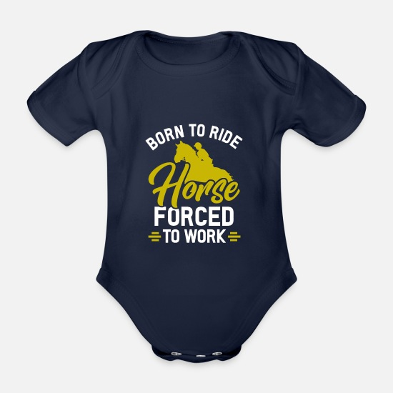 Mare Baby Clothes - horse - Organic Short-Sleeved Baby Bodysuit dark navy