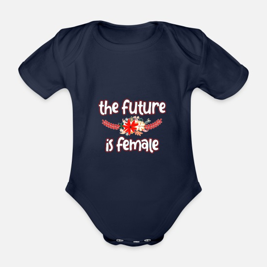 Strong Baby Clothes - Girl Power - Organic Short-Sleeved Baby Bodysuit dark navy