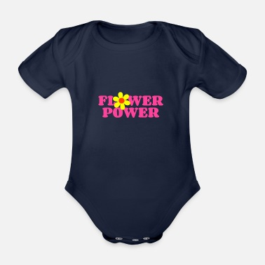 Flower Power flower power pink - Organic Short-Sleeved Baby Bodysuit