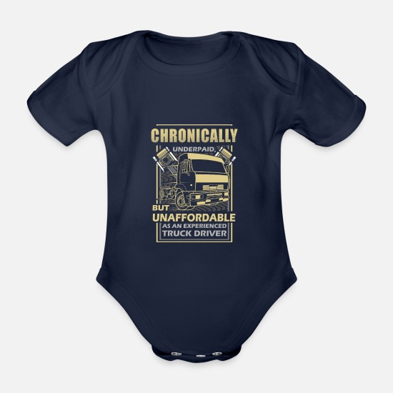 Tractor Baby Clothes - Truck Truck Forwarding Gift · Underpaid - Organic Short-Sleeved Baby Bodysuit dark navy
