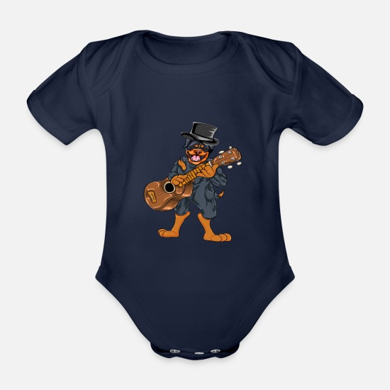 Play Baby Clothes - Rottweiler guitar - Organic Short-Sleeved Baby Bodysuit dark navy