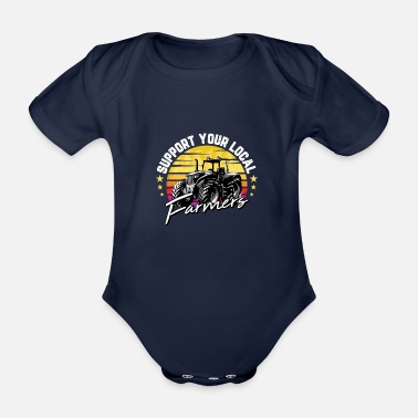 Beef Funny Farm Gift Support Your Local Farmers For - Organic Short-Sleeved Baby Bodysuit