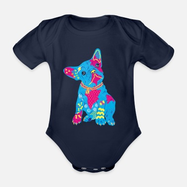 French bulldog colorful neon - Organic Short-Sleeved Baby Bodysuit