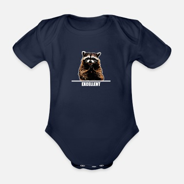Evil Raccoon for dark clothes - Organic Short-sleeved Baby Bodysuit