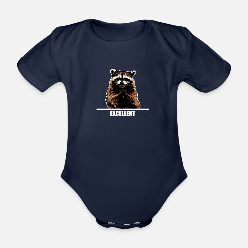 Raccoon Baby Clothing - Evil Raccoon for dark clothes - Short-Sleeved Baby Bodysuit dark navy