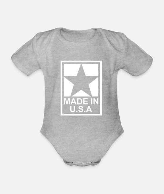 Usa Baby Clothes - Made in USA - Lone Star - United States of America - Organic Short-Sleeved Baby Bodysuit heather grey