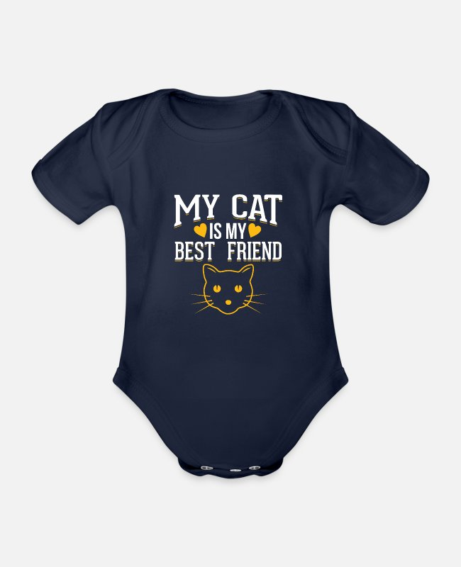Pussycat Baby Bodysuits - Cat - My cat is my best friend - Organic Short-Sleeved Baby Bodysuit dark navy