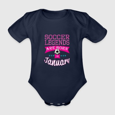 Personalised Soccer legends are born in January gift - Organic Short-sleeved Baby Bodysuit