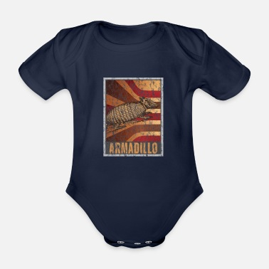 Two Retro Armadillo Poster Distressed Look - Organic Short-sleeved Baby Bodysuit