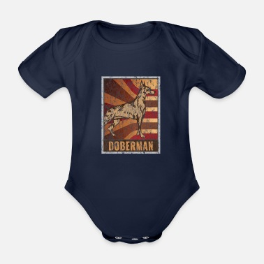 Doberman Retro Doberman Poster Distressed Look - Organic Short-sleeved Baby Bodysuit