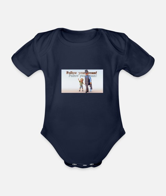World Championship Baby Bodys - Hello, World! 01 - Baby Bio Kurzarmbody Dunkelnavy