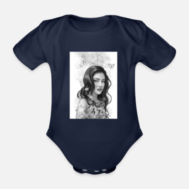 Woman with flowers crying - Organic Short-Sleeved Baby Bodysuit