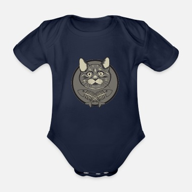 Herringbone Cat and herringbone - Organic Short-Sleeved Baby Bodysuit
