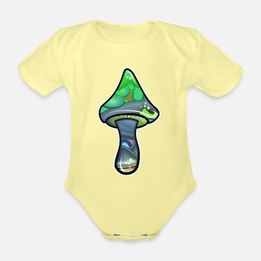 Magic magic mushroom - Organic Short-Sleeved Baby Bodysuit