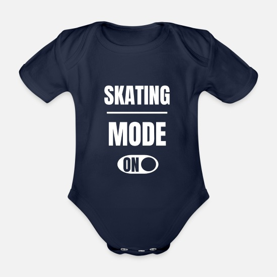 Inline Skates Baby Clothes - Skating fashion on skater longboard skateboard - Organic Short-Sleeved Baby Bodysuit dark navy