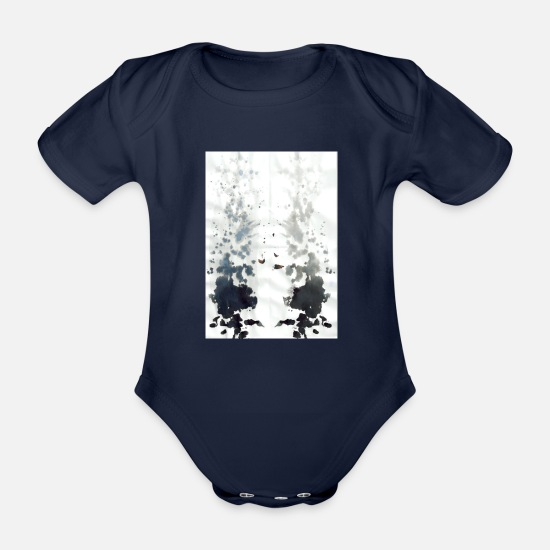 Smudge Baby Clothes - Mirrored ink - Organic Short-Sleeved Baby Bodysuit dark navy