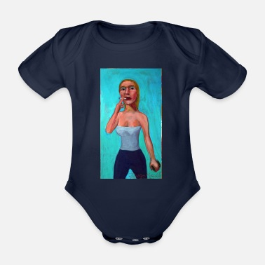 Blonde with cigarette - Organic Short-Sleeved Baby Bodysuit