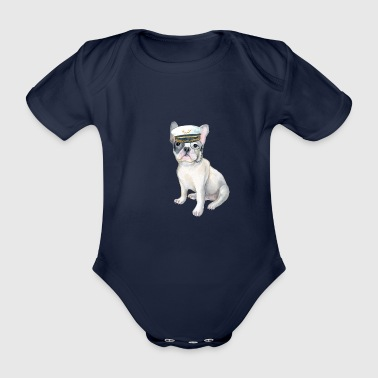 Bulldog Frenchie French Bulldog monocle Captains Hat Dogs In Clothes - Organic Short-sleeved Baby Bodysuit
