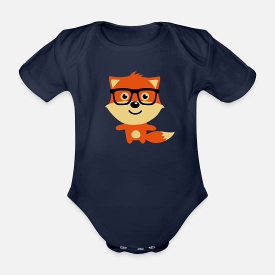 Bestsellers Q4 2018 Baby Clothes - Cute & Funny Hipster Baby fox with nerd glasses - Organic Short-Sleeved Baby Bodysuit dark navy