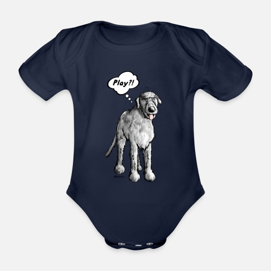Funny Baby Clothes - Irish wolfhound - cartoon - comic - funny  - Organic Short-Sleeved Baby Bodysuit dark navy