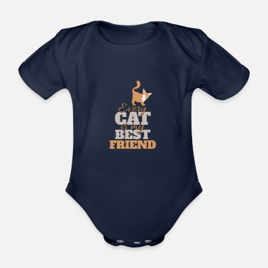 Cat Friend cats friend - Organic Short-Sleeved Baby Bodysuit