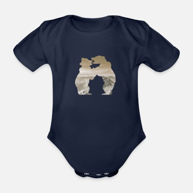 Brown Bear bear brown - Organic Short-sleeved Baby Bodysuit