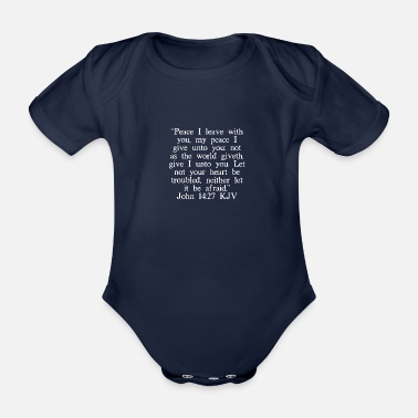 Bible John 14:27 KJV (White Font) - Organic Short-Sleeved Baby Bodysuit