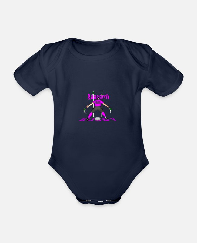 Clermont Rugby Baby Bodysuits - RUGBY 15 Pink Players - Organic Short-Sleeved Baby Bodysuit dark navy