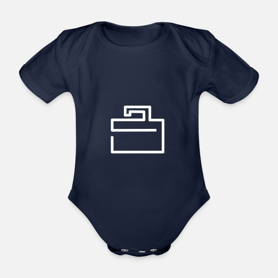 Travel Baby Clothes - suitcase - Organic Short-Sleeved Baby Bodysuit dark navy