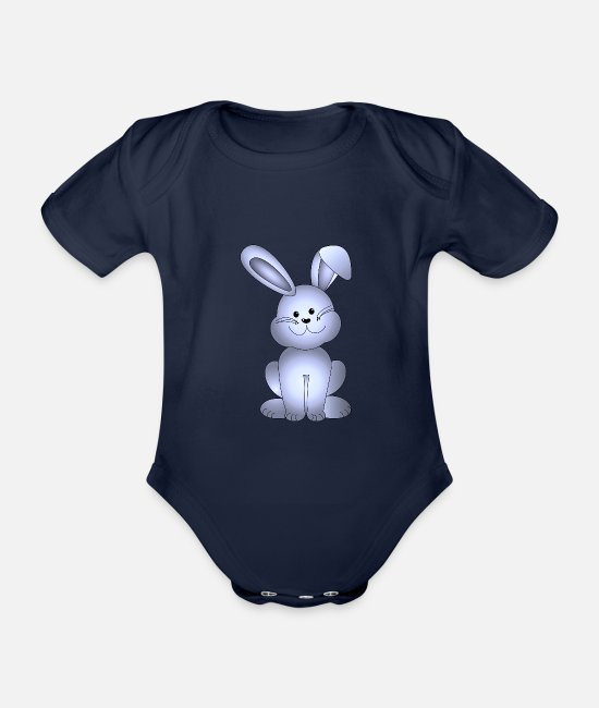 Birthday Baby Clothes - Easter bunny with floppy ear - Organic Short-Sleeved Baby Bodysuit dark navy