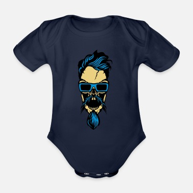 Bearded head bearded bearded bearded bearded bearded bearded - Organic Short-Sleeved Baby Bodysuit