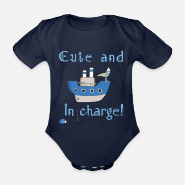Cute and in Charge! (dark background) - Organic Short-Sleeved Baby Bodysuit