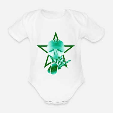 Skull Star Tag Black Green - Body de manga corta bebé