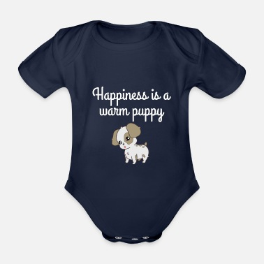 Happy Puppy happiness is a warm puppy - Organic Short-Sleeved Baby Bodysuit